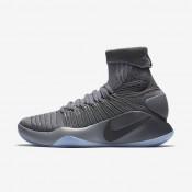 Nike hyperdunk 2016 flyknit para hombre gris oscuro/gris azulado/platino metalizado_781