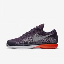 Nike court zoom vapor 9.6 flyknit para hombre morado grandioso/platino puro/carmesí total/plata metalizado_447