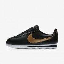 Nike classic cortez leather para mujer negro/blanco/oro metalizado_063