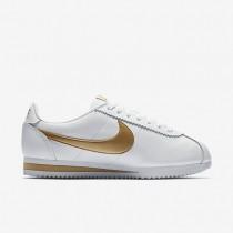Nike classic cortez leather para mujer blanco/oro metalizado_064
