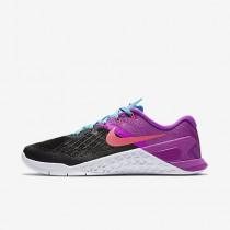 Nike metcon 3 para mujer negro/hipervioleta/azul cloro/rosa carrera_072