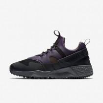 Nike air huarache utility para hombre negro/morado dinastía/arcilla empolvado metálico/terreno de juego_699