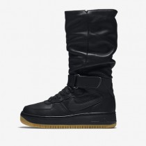 Nike air force 1 upstep warrior para mujer negro/marrón claro goma/hematita metálico/negro_373