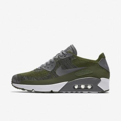 Nike air max 90 ultra 2.0 flyknit para hombre verde puro/blanco/negro/gris oscuro_001
